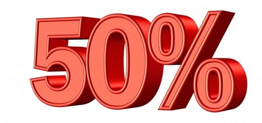 Taakverdeling: een realistische taakverdeling is niet 50/50. Plaatje van 50%