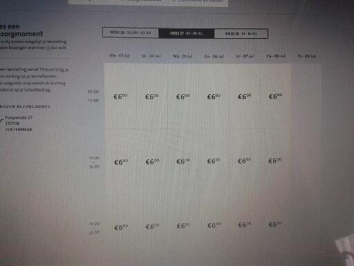Online bestellen bij Jumbo. Voorbeeld van de tijdvakken
